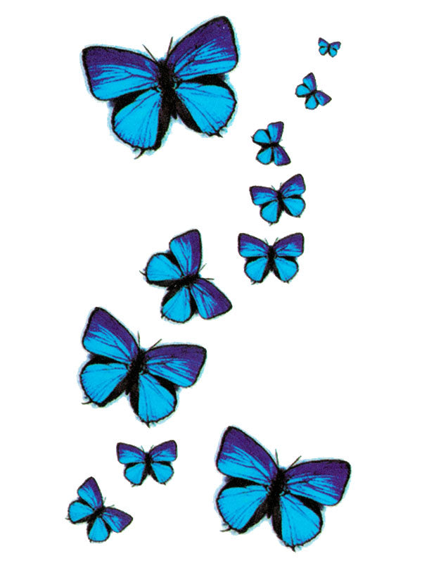 Blue and Black Butterflies - Tatouage Ephémère - Tattoo Forest