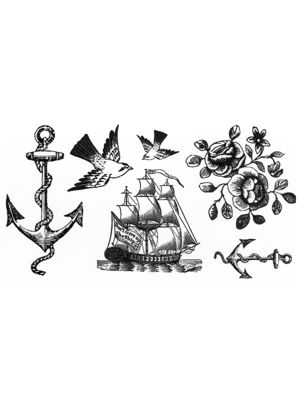 Boat Anchor, Birds, Vessel and Flowers