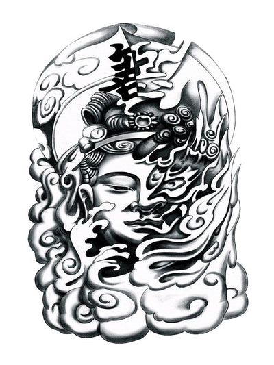 Buddha in the Clouds - Tatouage Ephémère - Tattoo Forest