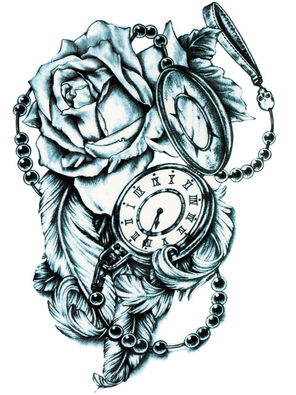 Clock, Black Pearls, Skull, Roses and Feathers - Tatouage Ephémère - Tattoo Forest