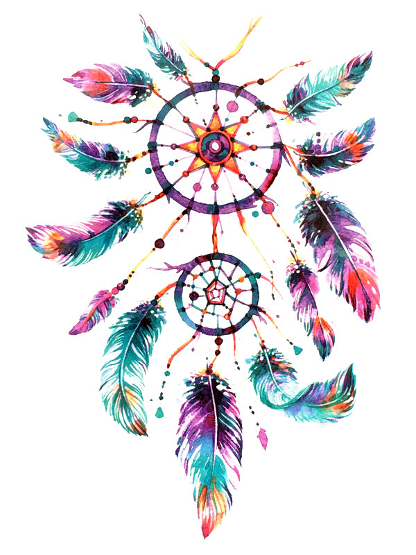 Colorful Feather Dreamcatcher - Tatouage Ephémère - Tattoo Forest