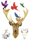 Colorful Birds, Bird Nests, Deers and Buffalo Skull - Tatouage Ephémère - Tattoo Forest