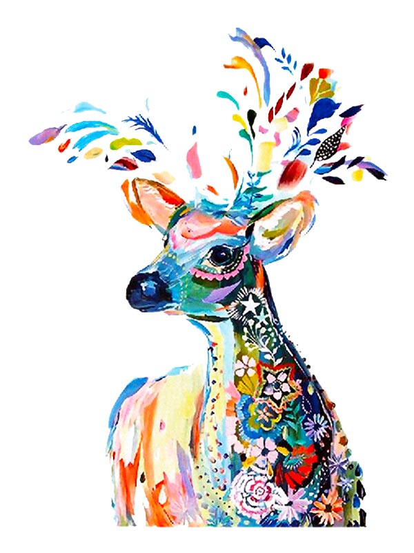 Colorful Deer - Tatouage Ephémère - Tattoo Forest