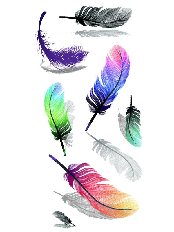 Colorful Feathers - Tatouage Ephémère - Tattoo Forest