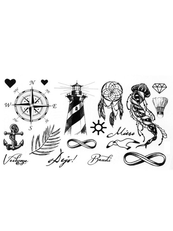 Compass, Heart, Anchor, Lighthouse, Dreamcatcher and Jellyfish - Tatouage Ephémère - Tattoo Forest