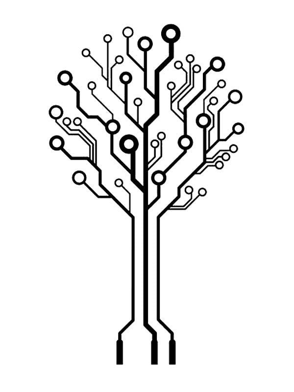 Computer Circuit Board Tree - Tatouage Ephémère - Tattoo Forest