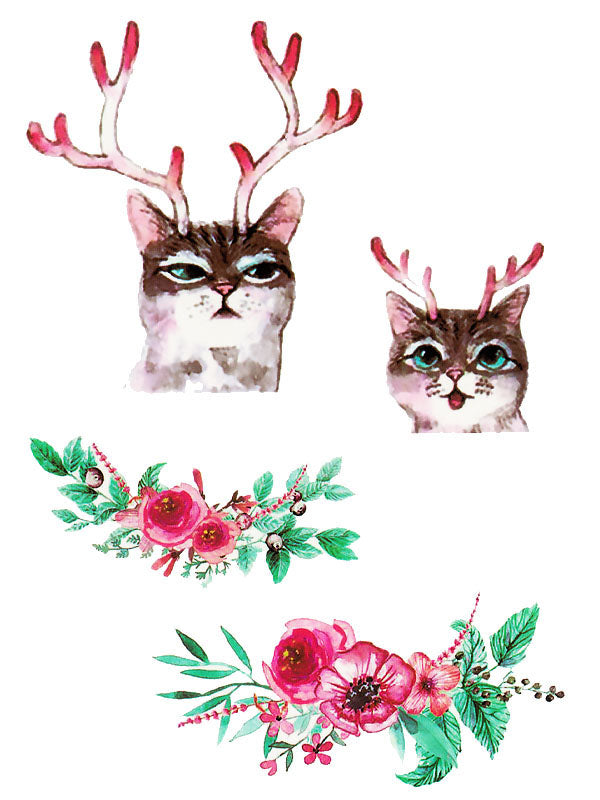 Cute Cats with Stag Antlers and Red Flowers - Tatouage Ephémère - Tattoo Forest