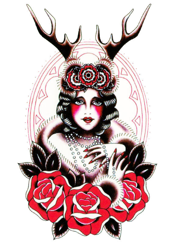 Deer Cabaret Lady and Red Roses - Tatouage Ephémère - Tattoo Forest