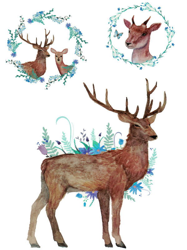 Deer, Roe and Doe with Flower Crowns and Butterflies - Tatouage Ephémère - Tattoo Forest