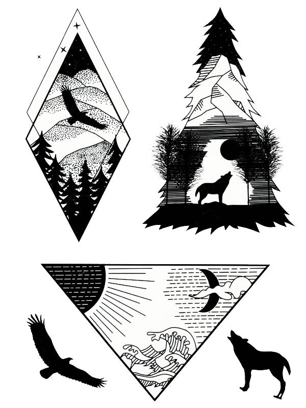 Diamond Eagle and Pine Wolf - Tatouage Ephémère - Tattoo Forest