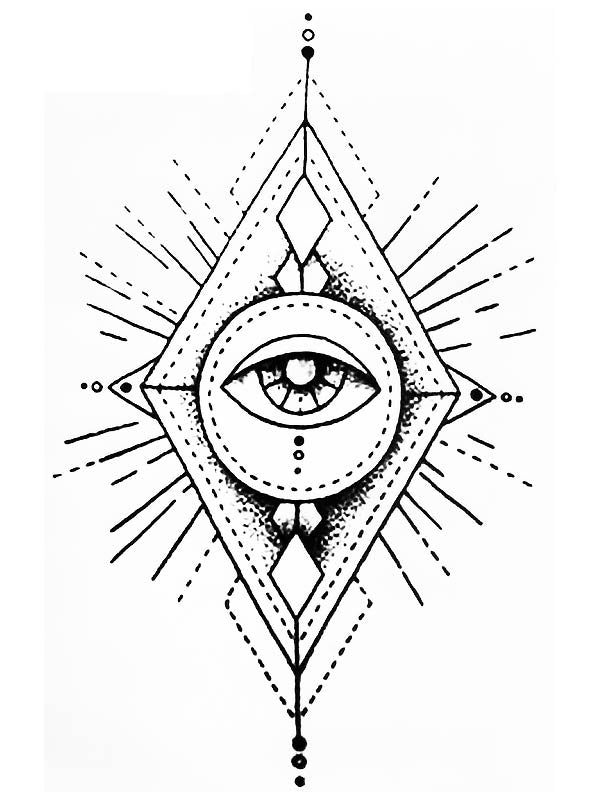 Diamond with the All-Seeing Eye of God - Tatouage Ephémère - Tattoo Forest