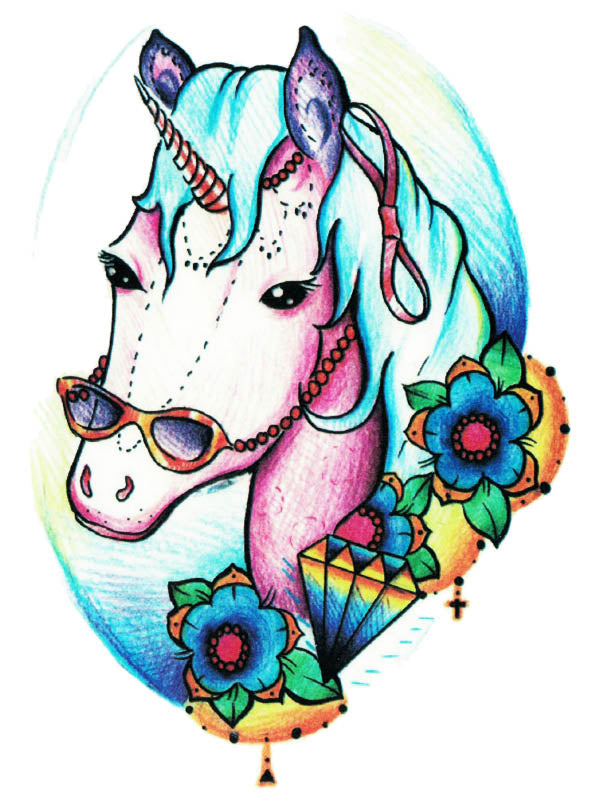 Diamond Unicorn with Flowers - Tatouage Ephémère - Tattoo Forest