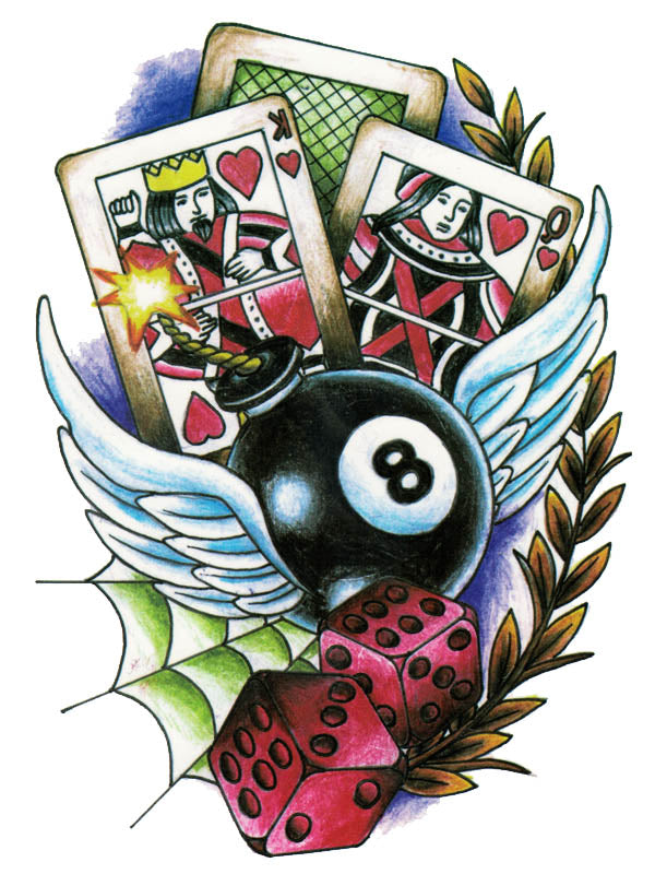 Dices, Winged Bomb and Game Cards - Tatouage Ephémère - Tattoo Forest