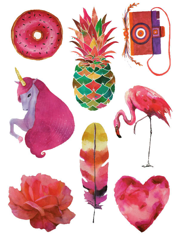 Donut, Pineapple, Camera, Unicorn, Pink Flamingo, Flower, Feather and Heart - Tatouage Ephémère - Tattoo Forest
