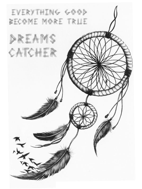 Dreamcatcher with Feathers and Birds - Tatouage Ephémère - Tattoo Forest