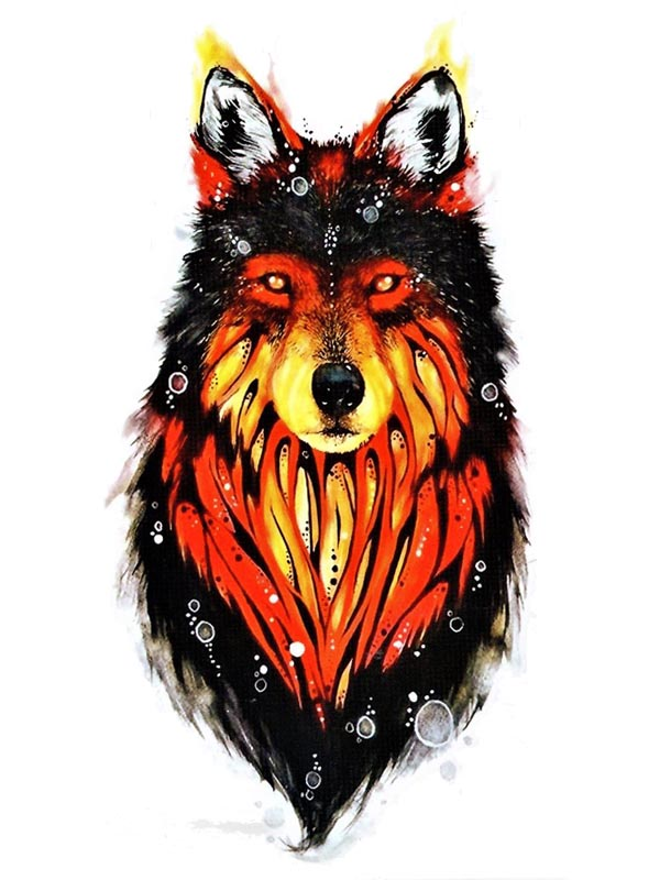 Fire Wolf - Tatouage Ephémère - Tattoo Forest