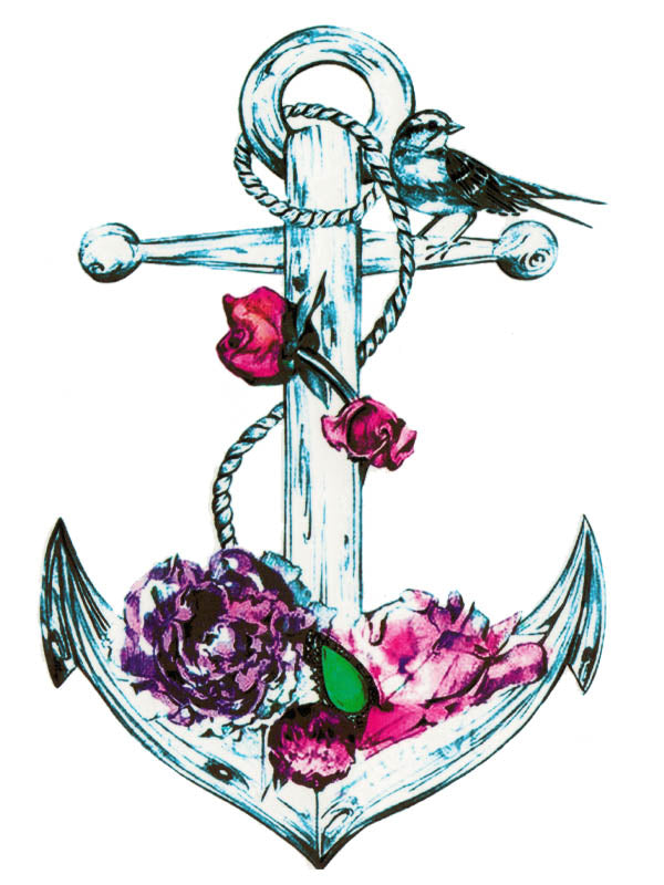 Flowered Anchor and Bird - Tatouage Ephémère - Tattoo Forest