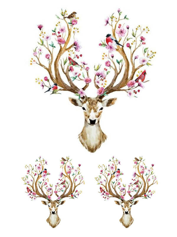 Flowered Deer and Birds - Tatouage Ephémère - Tattoo Forest