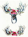 Flowered Deers and Antlers - Tatouage Ephémère - Tattoo Forest