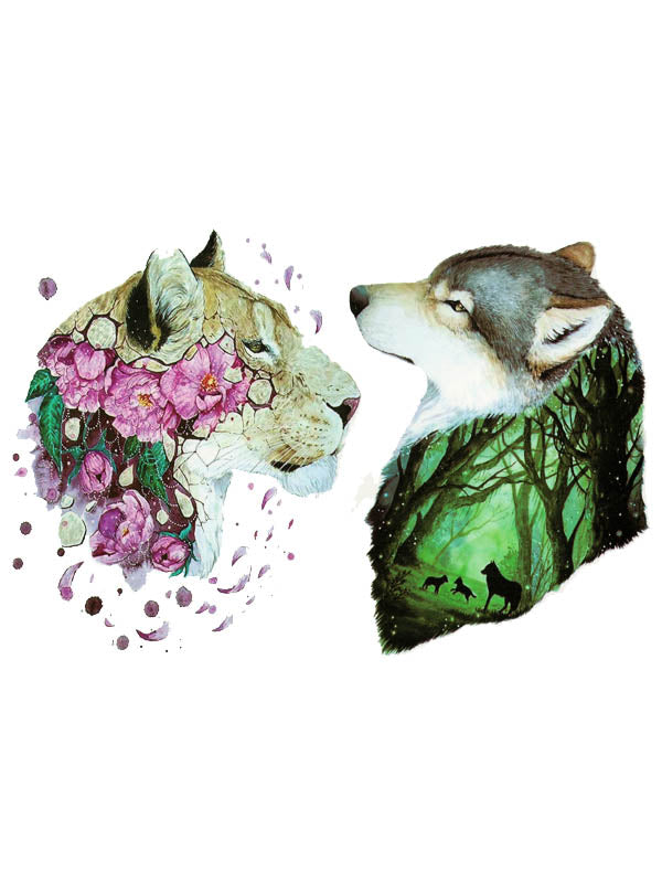 Flowered Lioness and Wolf 1