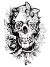 Flowered Skull - Tatouage Ephémère - Tattoo Forest