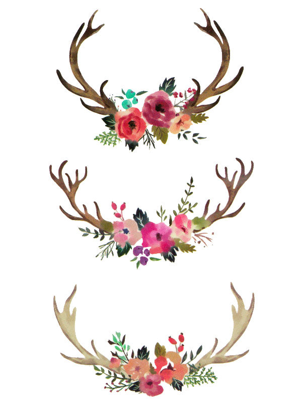 Flowered Stag Antlers - Tatouage Ephémère - Tattoo Forest
