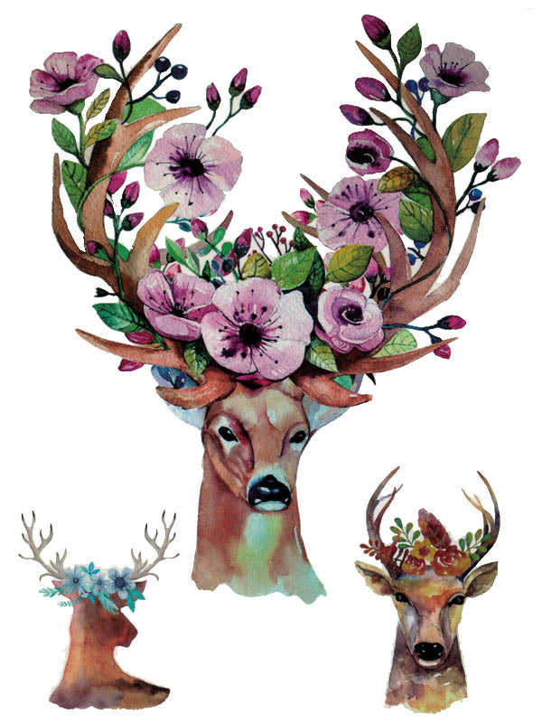 Flowered Stag, Deer and Roe - Tatouage Ephémère - Tattoo Forest