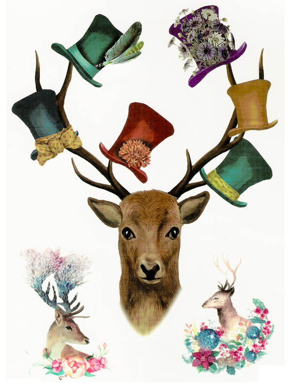 Flowered Topper Hats and Deers - Tatouage Ephémère - Tattoo Forest