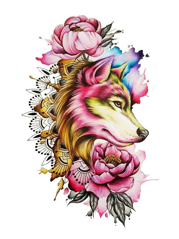 Flowered Wolf - Tatouage Ephémère - Tattoo Forest