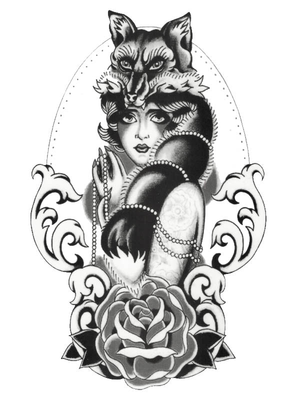 Fox Lady with Pearl Necklace and Rose - Tatouage Ephémère - Tattoo Forest