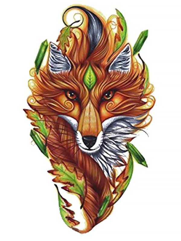 Fox Hidden in the Bushes - Tatouage Ephémère - Tattoo Forest