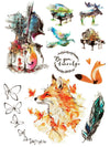 Fox, Violin, Pianos, Feather and Butterflies - Tatouage Ephémère - Tattoo Forest