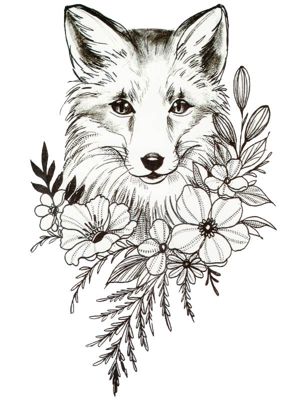 Fox and Flowers - Tatouage Ephémère - Tattoo Forest