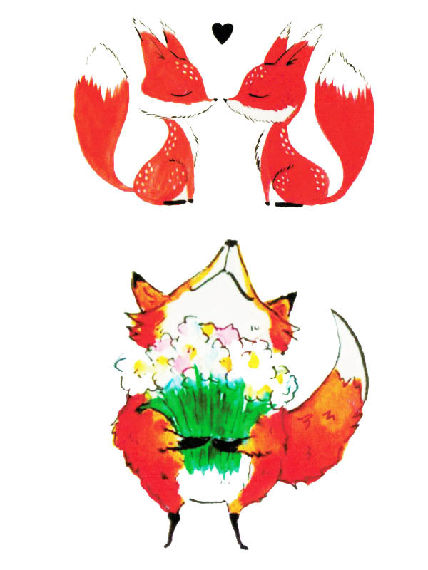 Foxes in Love and Fox with a Bunch of Flowers - Tatouage Ephémère - Tattoo Forest