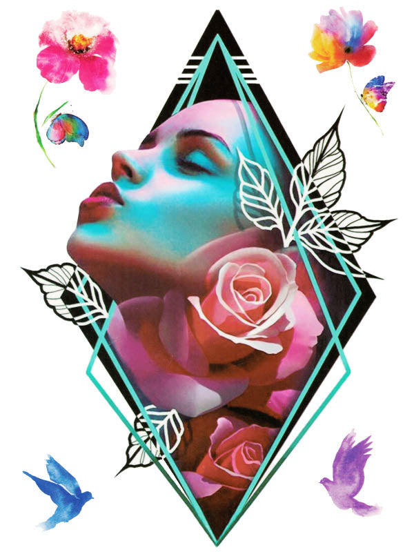 Geometric Diamond Beauty with Flowers, Butterflies and Birds - Tatouage Ephémère - Tattoo Forest