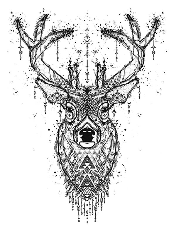 Geometric Dotted Deer - Tatouage Ephémère - Tattoo Forest