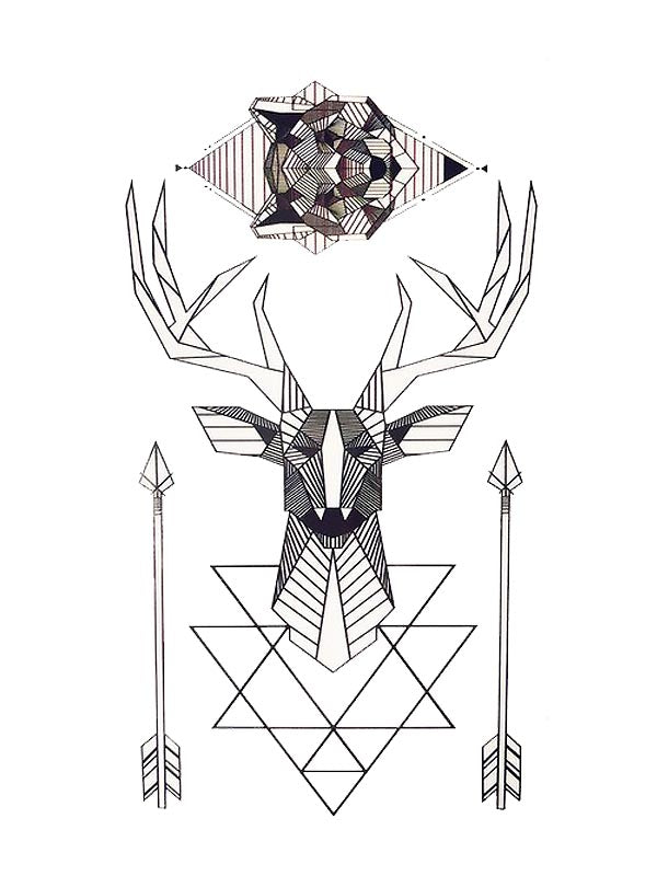Geometric Fox & Deer - Tatouage Ephémère - Tattoo Forest