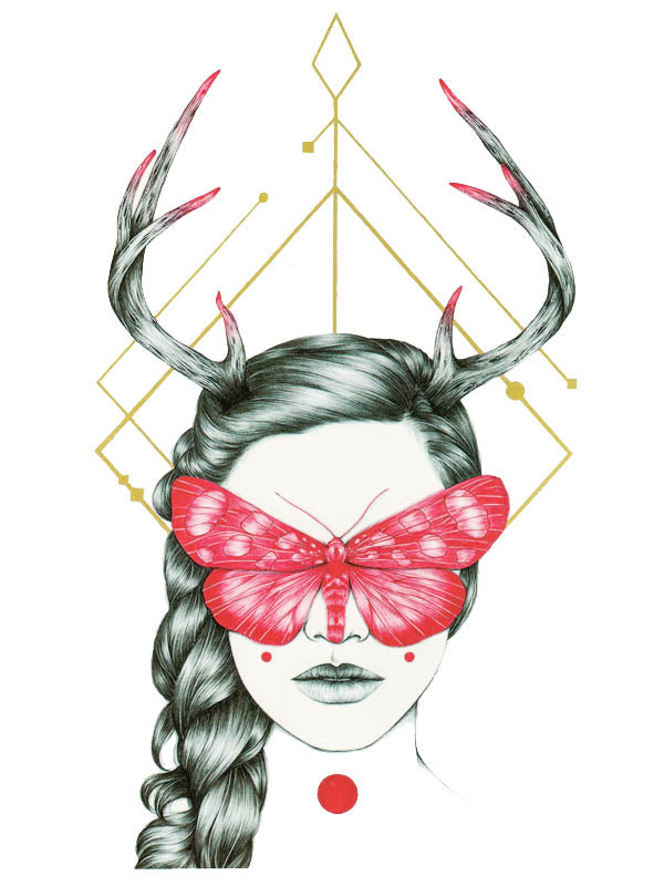 Geometric Lady with Antlers, Braid and Red Sphinx Butterfly - Tatouage Ephémère - Tattoo Forest