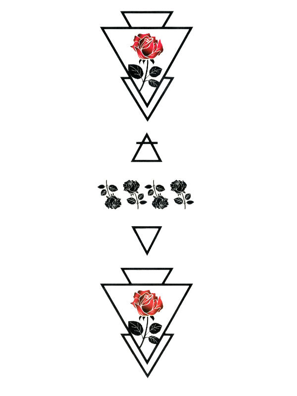 Geometric Red and Black Roses Arrows 1 - Tatouage Ephémère - Tattoo Forest