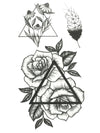 Geometric Roses, Graphic Feather and Triangles - Tatouage Ephémère - Tattoo Forest