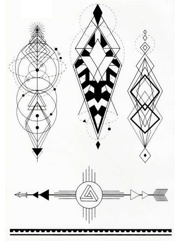 Geometric Totems, Bracelets and Arrows - Tatouage Ephémère - Tattoo Forest