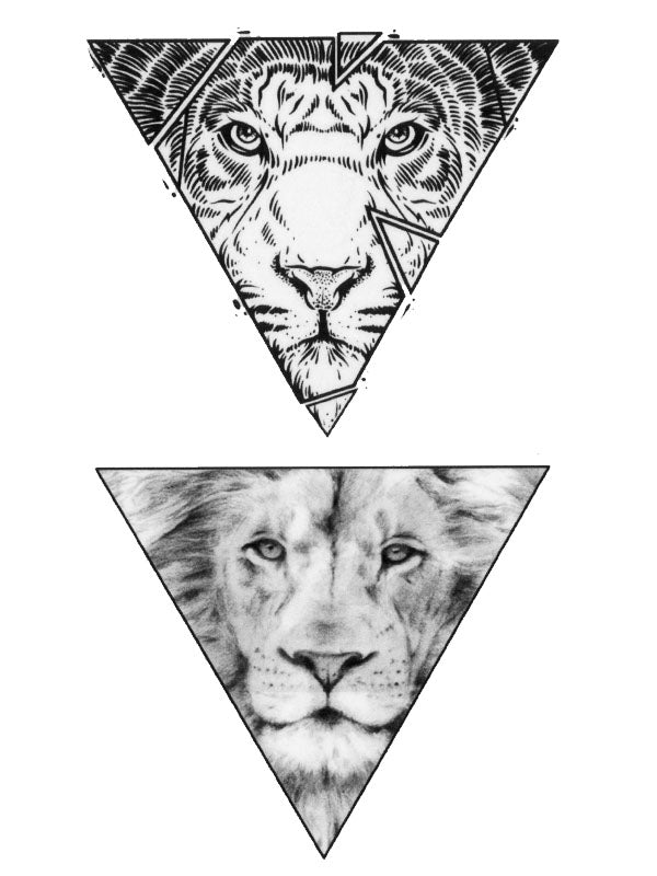 Geometric Triangle Lions - Tatouage Ephémère - Tattoo Forest