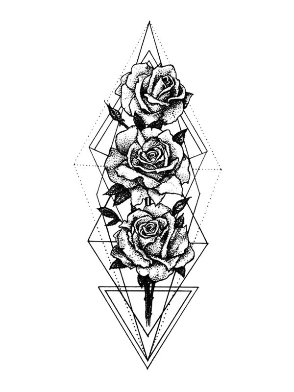 Geometric Triangles and Roses - Tatouage Ephémère - Tattoo Forest