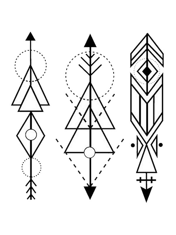 Geometric Triangular Arrows - Tatouage Ephémère - Tattoo Forest