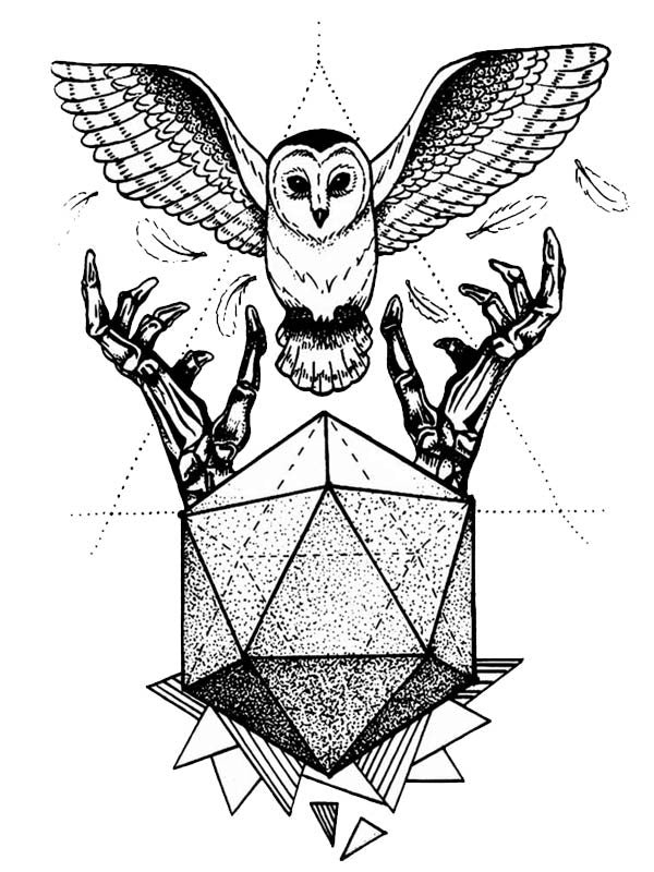 Geometry, Owl and Skeleton Hands - Tatouage Ephémère - Tattoo Forest