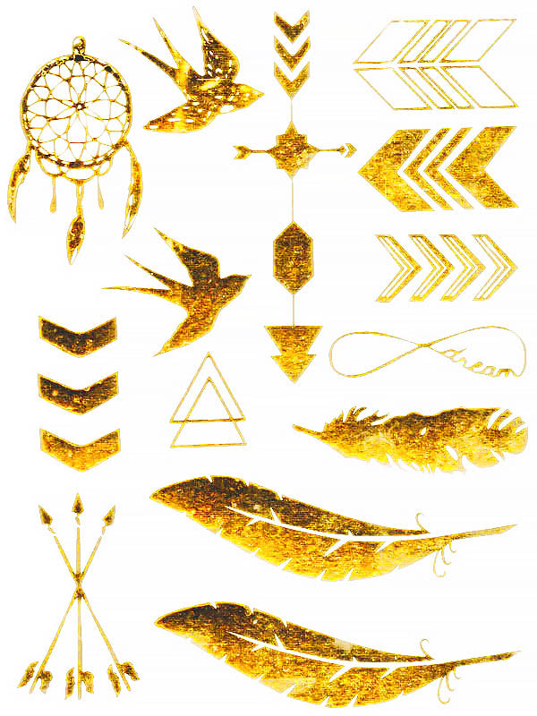 Gold Birds, Arrows, Triangles, Feathers and Dreamcatcher - Tatouage Ephémère - Tattoo Forest