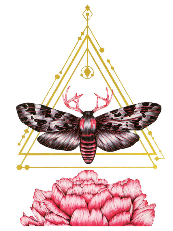 Gold Geometry, Black and Red Sphinx Butterfly with Antlers and Flower - Tatouage Ephémère - Tattoo Forest