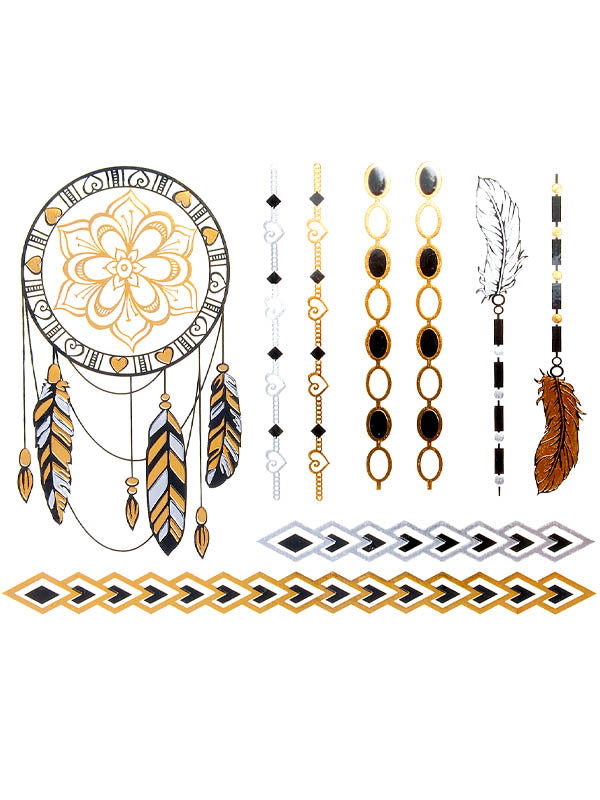 Gold, Silver and Black Lotus Dreamcatcher, Feathers and Heart Bracelets - Tatouage Ephémère - Tattoo Forest