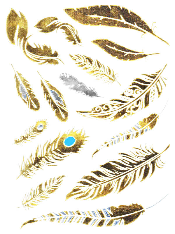 Gold, Silver and Blue Feathers - Tatouage Ephémère - Tattoo Forest