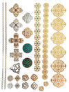 Gold, Silver and Green Crosses, Bracelets and Medallions - Tatouage Ephémère - Tattoo Forest